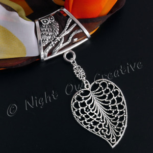 Owl & Leaf Scarf Ring, Jewellery Scarf Clip, Silver Slider Pendant, FREE Pouch
