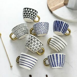 Ceramic Coffee Mug Gold Handgrip Handmade Tea Cup Home Decor Creative Irregular