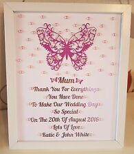 Personalised Butterfly Frame Mother Of Bride/Groom Thank You Gift Wedding Favour