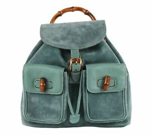 Authentic Gucci Vintage Aqua Blue Leather & suede Bamboo MM Backpack