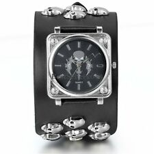 Gothic Punk Biker Skull Sword Wide Leather Band Bracelet Mens Quartz Wrist Watch