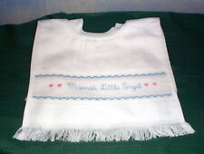 NEW WHITE CHARLES CRAFT CROSS STITCH BABY BIB - MAMA'S LITTLE ANGEL