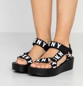 DKNY Women's Ayli Logo Strap Platform Sandals In Black UK6.5 BRAND NEW (RRP£110)