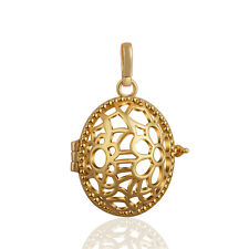 Oval Flower Cage Pendant Gold Plated Locket for 18mm Mexican Bola Harmony Ball