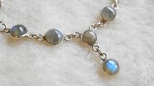 Kurz Collier 41 42 43 cm Silber Labradorit Halskette Kette Handarbeit Blau Grün
