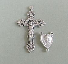 HEART Rosary CENTER & CRUCIFIX Set ~ Centerpiece Mary & Jesus ITALY Parts