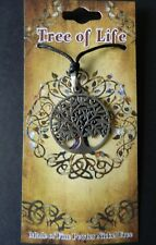 PEWTER TREE OF LIFE NECKLACE -PENDANT 3CM ACROSS ON ADJUSTABLE BLACK CORD