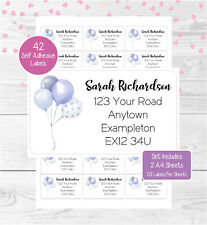 Balloons (Blue) Personalised Return Address Labels, 42 Birthday/Wedding Stickers