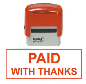 """Trodat """"PAID WITH THANKS"""" Business Stamp Name Address Self Inking Rubber Stamps"""