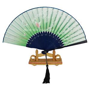 Fächer Handfächer aus Bambus Stoff Schmetterlinge grün blau Handarbeit 7293e