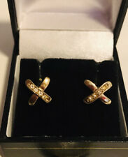 Cross Shaped and White Sapphires Earrings. Very Pretty Vintage 1960's 18K Gold