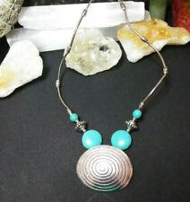 Necklace Turquoise Color Howlite  Spiral Pendant Natural Stone Boho Chic