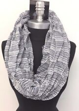 Men's Super soft thick and thin Stripe Infinity Circle Scarf Wrap, Blue/White