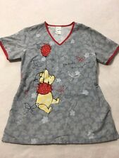 Disney XS Extra Small Winnie The Pooh Balloon Silly Old Bear Scrub Top Shirt