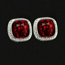 925 Sterling Silver With Red And White Diamond 1.10Ct Men's Cufflinks