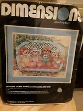 DIMENSIONS BEARS ON A WICKER SWING NEEDLEPOINT ,SEALED,1988 DAWNA BARTON DESIGN.
