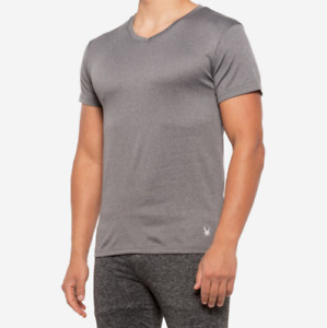 Spyder Active Shirt Mens Large Grey Mesh T-Shirt V Neck Short Sleeve New