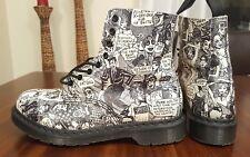Rare Dr Martens Pascal White Leather Comic print  Boot Women's 11 US/ 9 UK