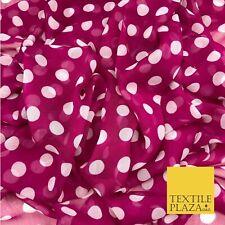 Dark Pink with White Polka Dot Spotted Crinkle Chiffon Minnie Dress Craft QF819