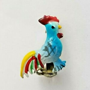 Vintage Costume Jewellery Adorable Tiny Rooster Brooch