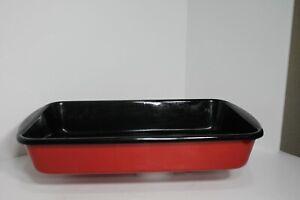 Chantal Enamel On Steel Red/Black Lasagna Roasting Pan 9 x 15 x 2.5