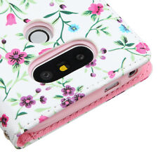 for LG G5 - PINK FLOWERS Leather Credit Card Money Wallet Pouch Folio Case Cover