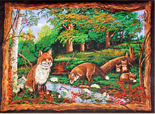 Fox Love Jungle Forest Wallhanging 100% Cotton Fabric by the panel