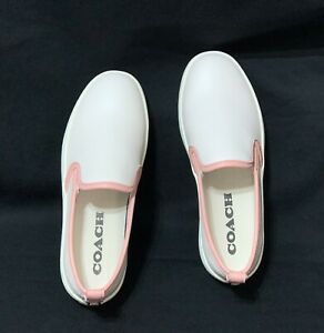 NWOB Authentic Coach C115 Leather Slip On Sneakers Color: Chalk/Petal