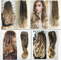 Long One Piece Clip in Hair Extensions, Synthetic Ombre Hairpieces Straight Wavy