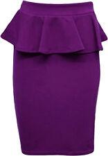 New Womens Plus Size Peplum Skirt Bodycon Pencil Skirts 8-22