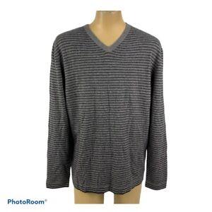 Paolo Mondo Men's XXL Cashmere Sweater Gray Striped V-Neck Unique NWOT C20