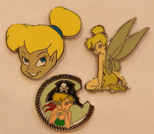 3 TINKERBELL DISNEY TRADING PIN LOT Tradable Lapel Pins peter pan tink fairy