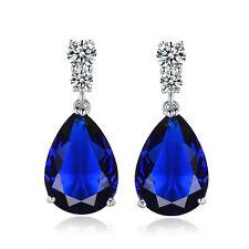 HUCHE Pear Ocean Blue Sapphire Silver Gold Filled Women Party Banquet Earrings