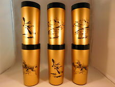 NFC Thermo Serv Gold Black Bass Fish Deer Duck Plastic Insulated Drink Cup Six