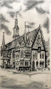 Radierung: Rathaus Breslau, Wroclaw, handsigniert
