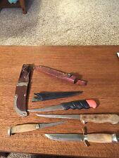 4 Vintage Hunting / Filet Knives Mora Sweden Leather Sheath