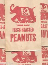 15 Circus Fresh Roasted Peanuts Bag Vintage 5 cents Elephant Img 1950's Original