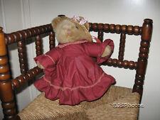 Anna Club Plush Leather Tag Line Brown Girl Teddy Bear 14 Inch Netherlands 1992