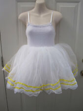 Dansco White Yellow Tap Ballet Dance Pageant Costume LC Large Child