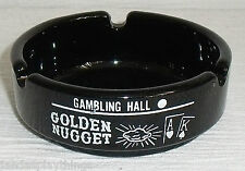 "Golden Nugget Saloon Casino Las Vegas Ashtray 3.25"" Black Glass Free Us Ship"
