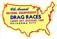 4th Annual National Championships Vintage Hot Rat Rod Drag Racing Decal Sticker