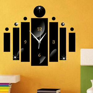 Modern 3D DIY Large Wall Clock Acrylic Mirror Sticker Number Watch Home Decor