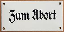 Zum Abort  - Emailschild Email Klo Toilette Tür Email Schild 20x10cm ohne Pfeil