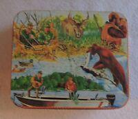 Vintage Tin Wildlife/Hunters/Bear/Fishing/Deer