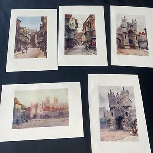 1905 5 x York Cathedral Collins Cathedral Cities Original Antique Print