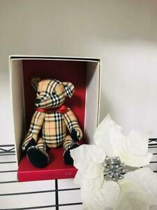 Burberry Check Black White and Red Lines on Camel Pattern Hand Made Teddy Bear