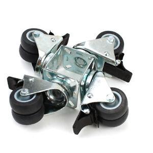 4er Möbelrollen Transportrollen Doppelrolle Grau Gummi+Metall je 100kg belastbar
