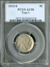 US Coin 1913-S Buffalo Nickel Type I PCGS AU50 NO RESERVE!
