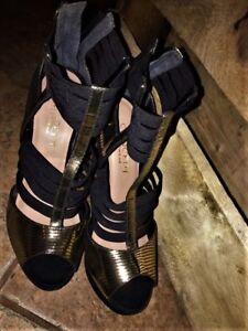Concept~ Metallic Gold & Suede Platform Heels Zip Bk 8 new