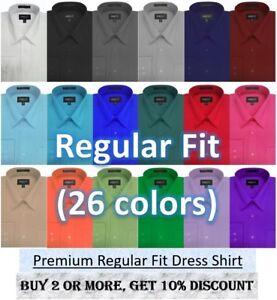 Men's Premium Regular fit Long Sleeve Dress Shirt 26 Colors Part 1